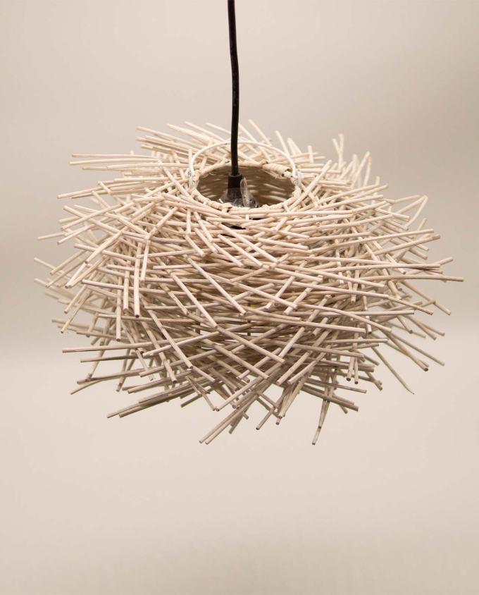 """Φωτιστικό οροφής Ραττάν """"Αχινός"""" διαμέτρου 30 cm χρώμα άσπρο"""
