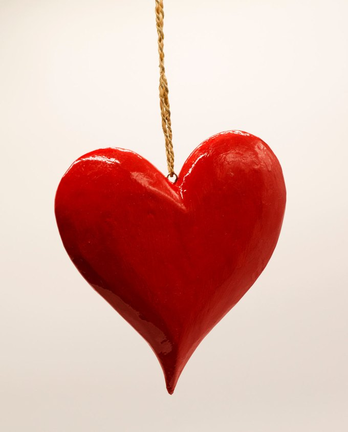 """Καρδιά κόκκινη ξύλινη """"French"""" διαμέτρου 20 cm"""