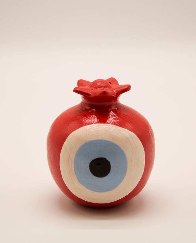 Wooden pomegranate handmade round