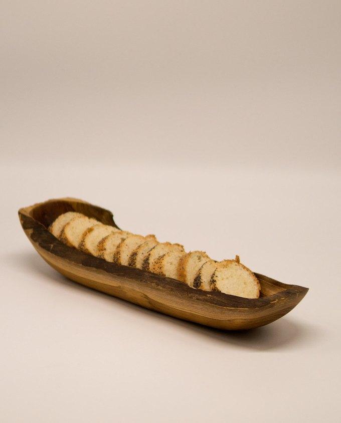 Μπωλ ξύλο Τικ μακρόστενο 35 cm x 10 cm με ψωμί
