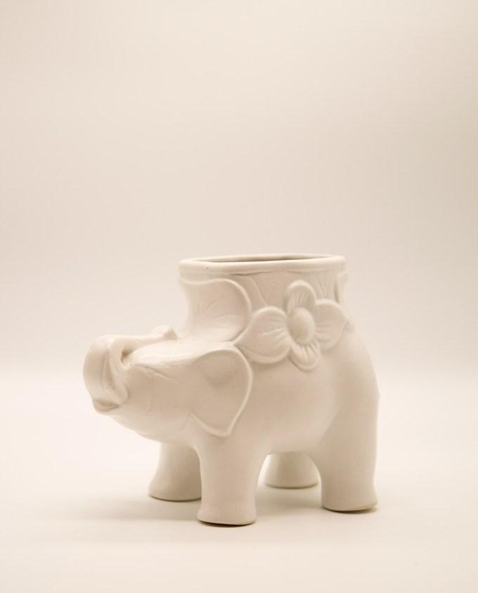 Βάζο ελέφαντας κεραμικό άσπρο ύψος 20 cm