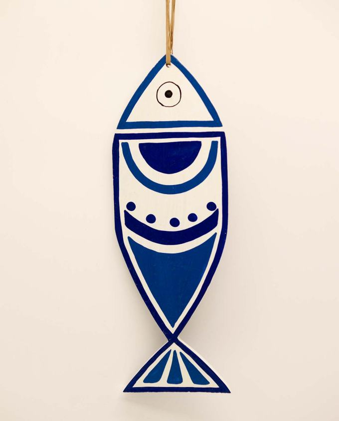 Fish wooden handmade New Greek circles blue white