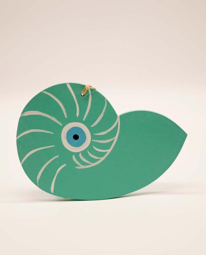 Seashell Nautilis evil eye wooden handmade turquoise