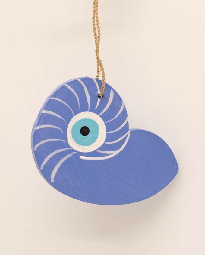 Seashell evil eye wooden handmade 10.5 x 8 cm indigo