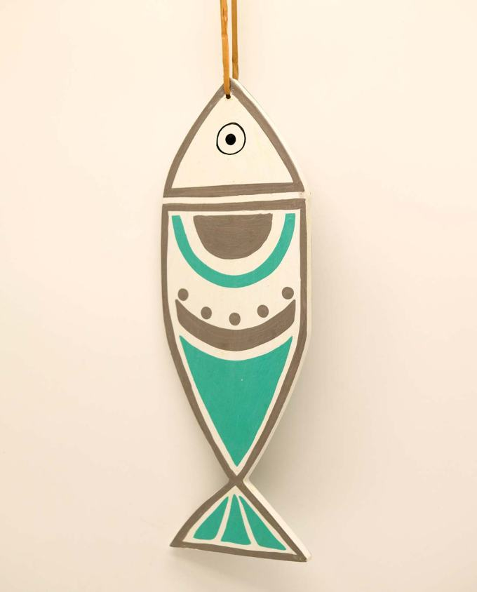Ψάρι ξύλινο χειροποίητο New Greek κύκλοι τυρκουαζ