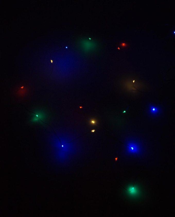 Λαμπάκια 20 led χρωματιστά σε ασημί σύρμα μήκος 2 m