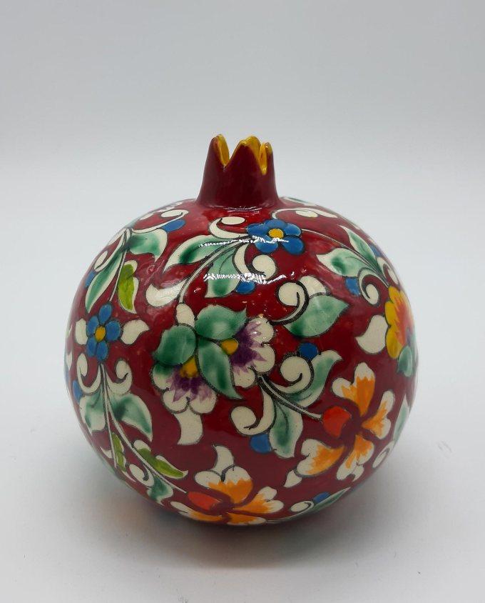 Pomegranate ceramic round bordeaux diameter 11 cm