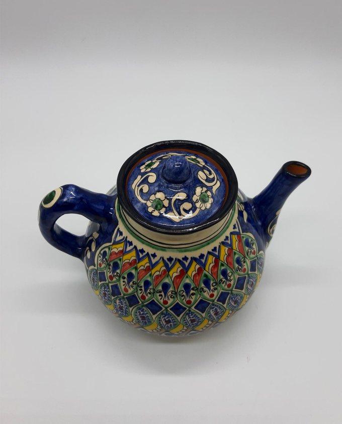 Τσαγιέρα κεραμική χειροποίητη μπλε ζωγραφισμένη με σχέδια