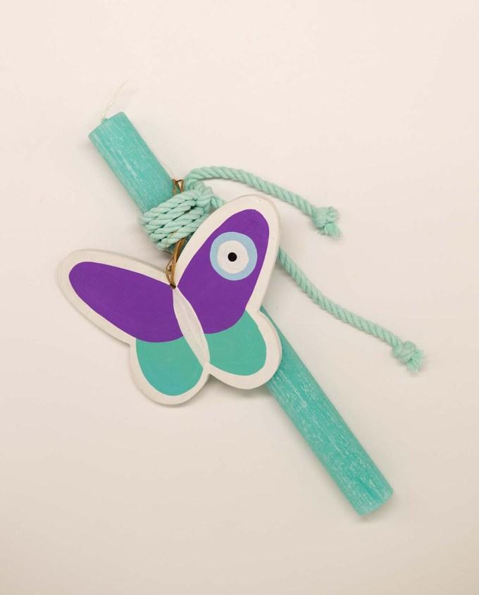 Λαμπάδα με ξύλινη χειροποίητη πεταλούδα ματάκι