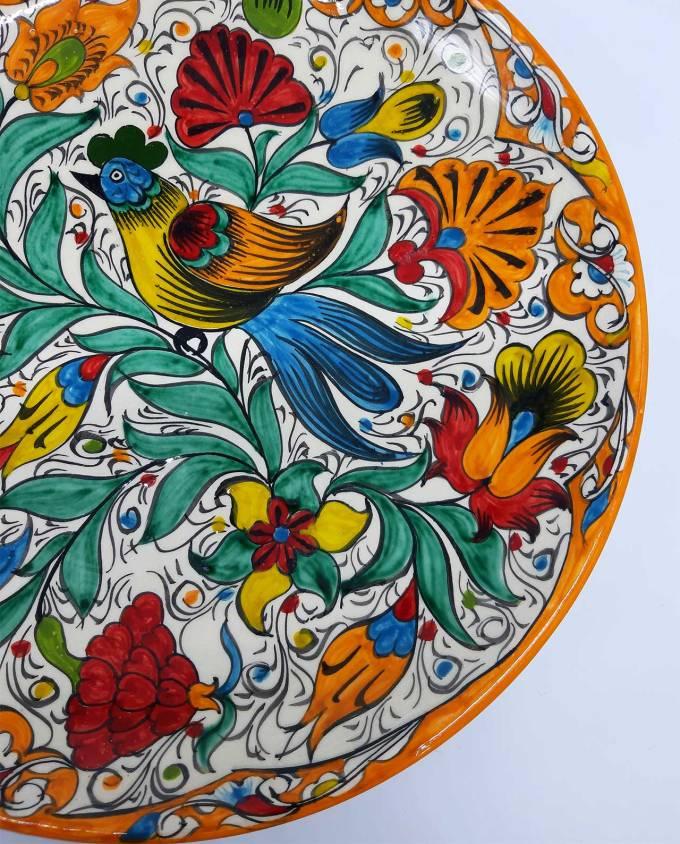 Πιατέλα κεραμική χειροποίητη με λουλουδια διαμέτρου 32 cm