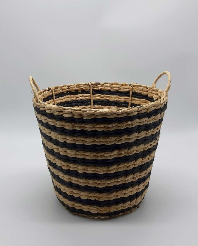 Basket raffia stripes black beige height 28 cm