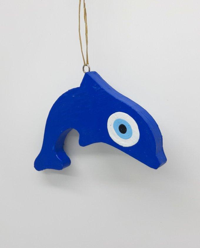 Dolphin Evil Eye Wooden Handmade Length 15 cm