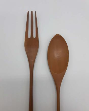 Fork & Spoon long wooden Set 2 pieces