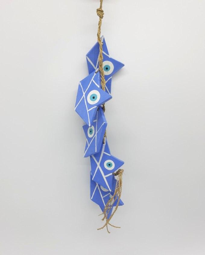 Garland of 6 boats evil eye wooden handmade color indigo