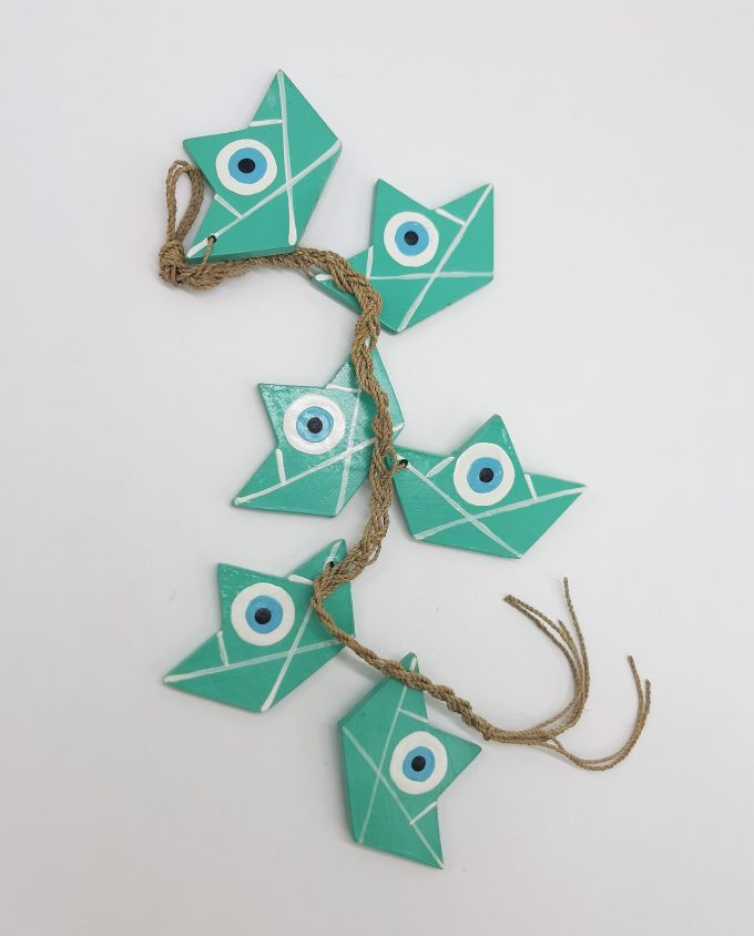 Garland of 6 boats evil eye wooden handmade color turquoise
