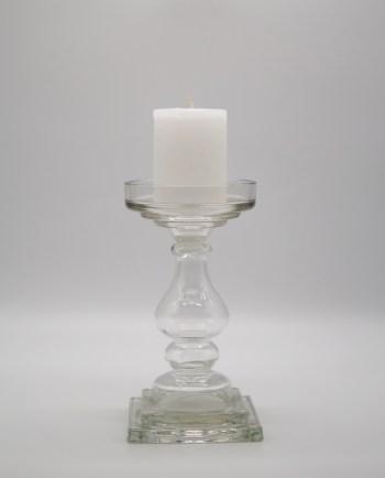 Candleholder Clear Glass height 24 cm