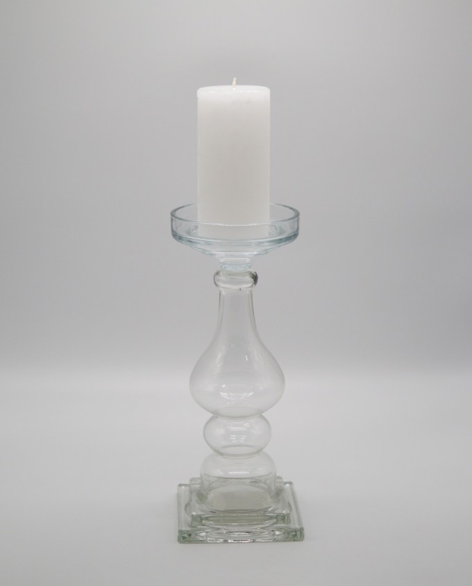 Candleholder Clear Glass height 32 cm