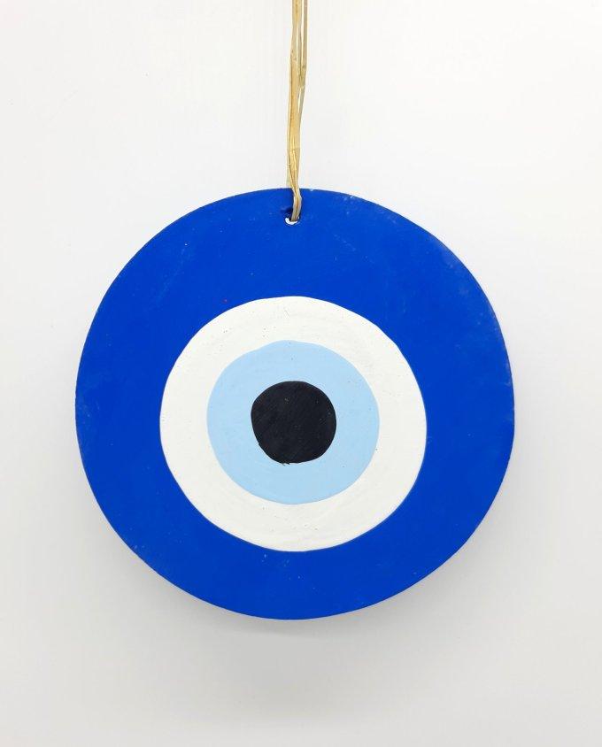evil eye wooden handmade diameter13cm color blue