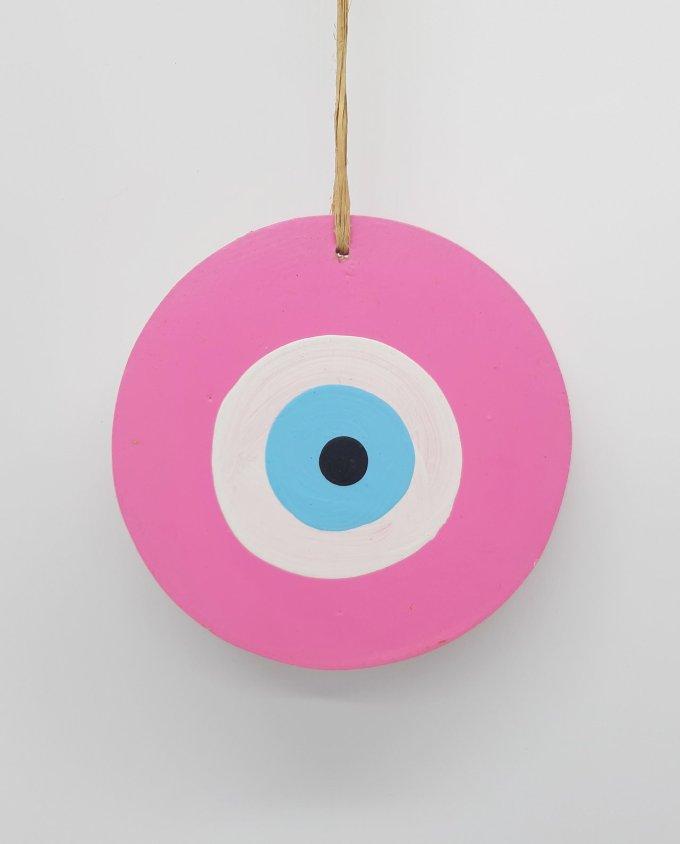 evil eye wooden handmade diameter 13cm color pink