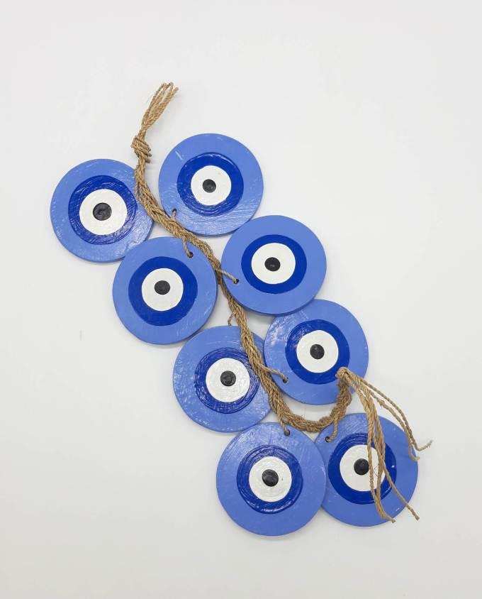 Γιρλάντα 8 Ματάκια Ξύλινα Χειροποίητα Μήκος 50 cm χρώμα μωβ