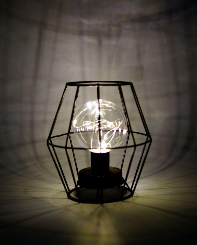 Table Lamp Metallic Black Led