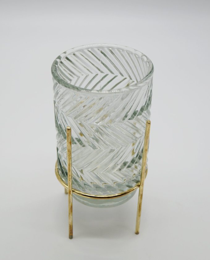 Tealight Pattern Glass on Metal Stand