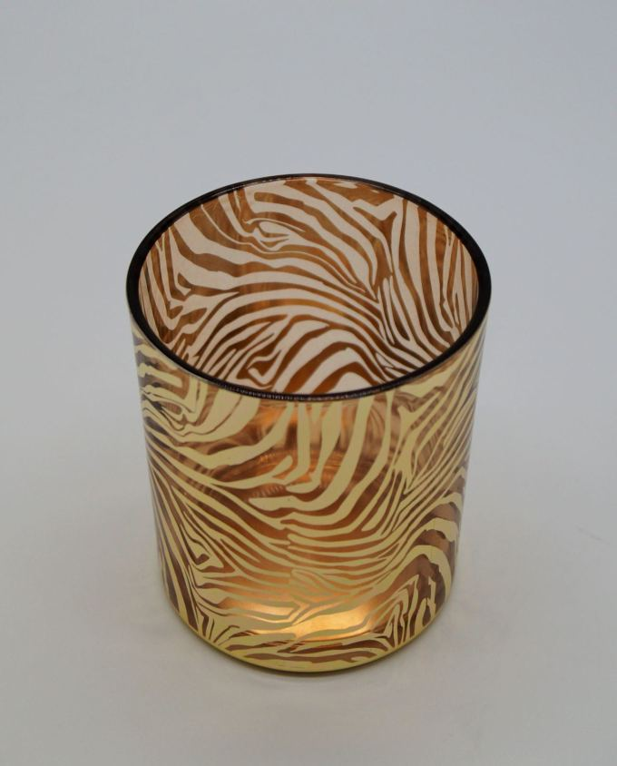 Tealight Glass Gold Zebra