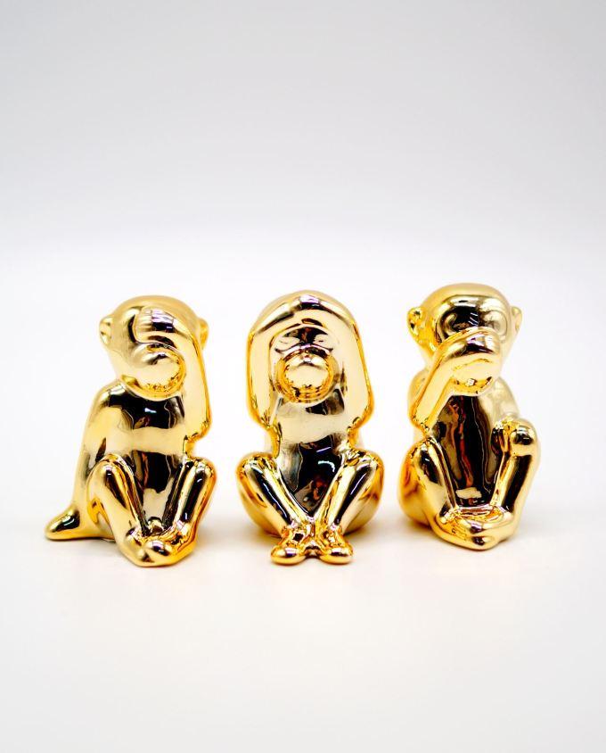 Porcelain 3 Gold Monkeys