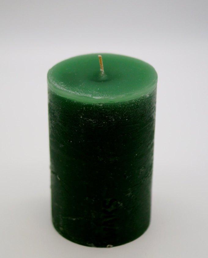 Κερί ρουστικ αρωματικό διαμέτρου 10cm, ύψους 15 cm, χρώμα πράσινο σκούρο