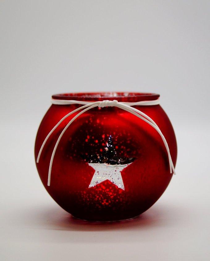"""Votive Glass Round """"Star"""" Red Silver"""