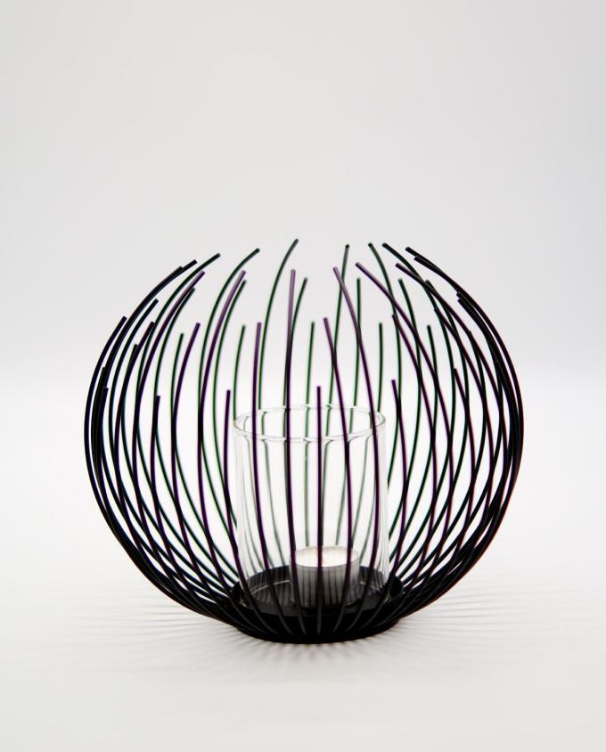 "Lantern Black Metallic ""Nest"" Height 20 cm"