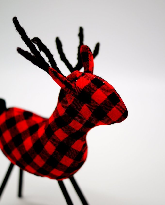 Reindeer Red Checkered Fabric