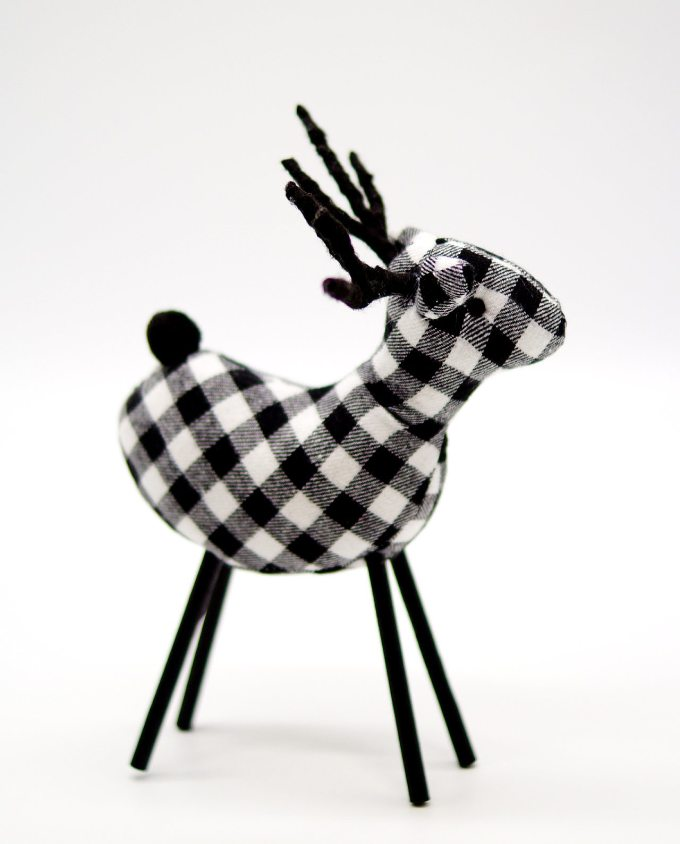 Reindeer Checkered White Fabric