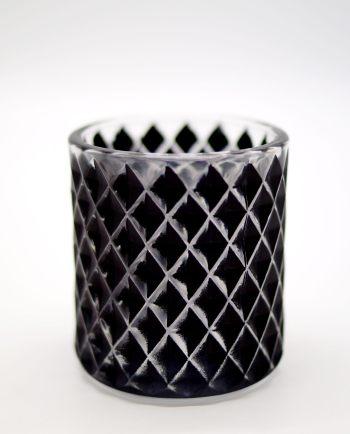 Votive of tealight black glass with pattern diamonds
