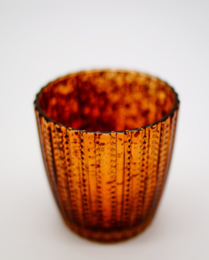 Tealight Glass Metallic Brown stripes