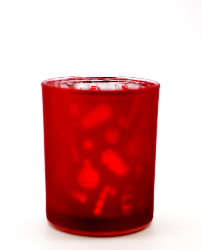Votive Glass Red Silver Xmas Height 10 cm