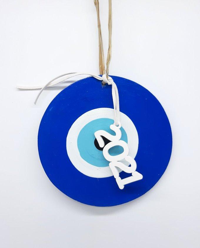 Lucky Charm handmade Wooden Evil Eye 2021 blue