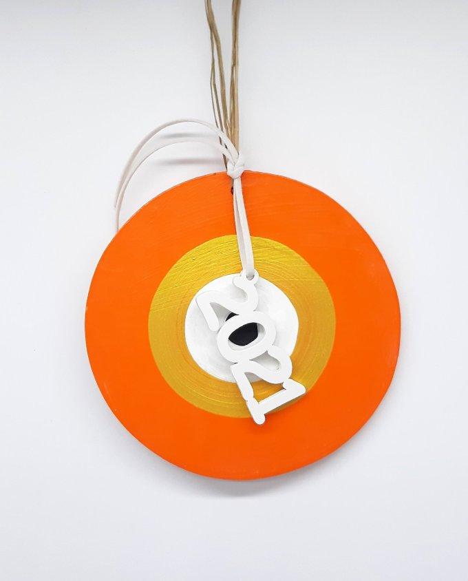 Lucky Charm handmade Wooden Evil Eye 2021 orange gold