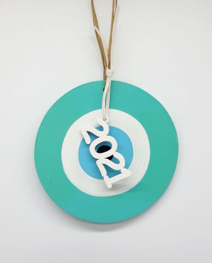 Lucky Charm handmade Wooden Evil Eye 2021 turquoise