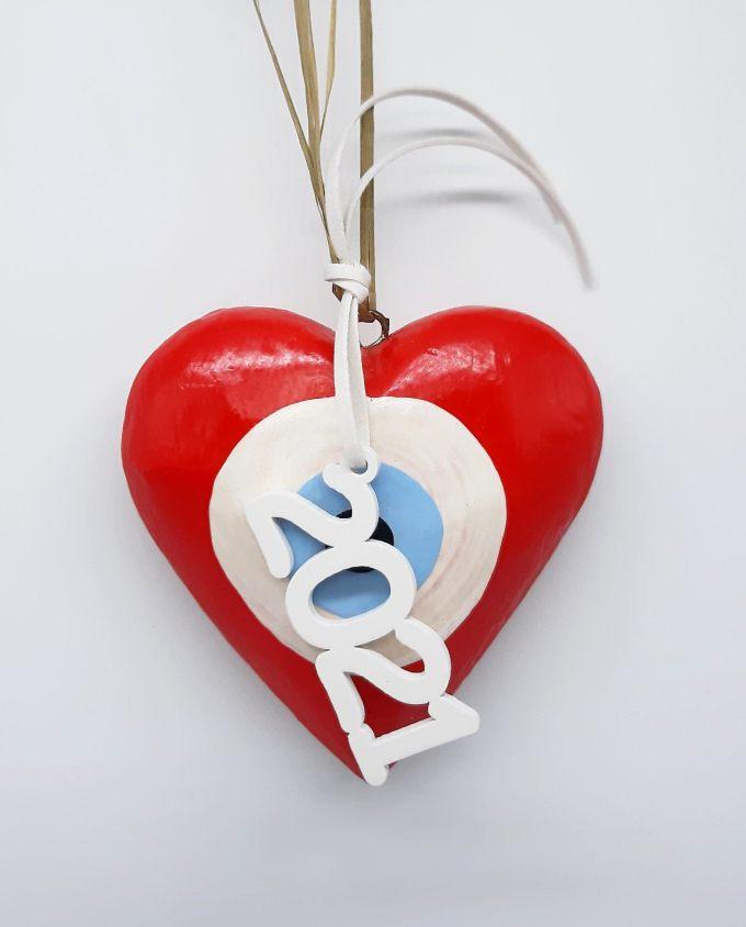 Lucky Charm Wooden Heart Evil Eye 2021 red