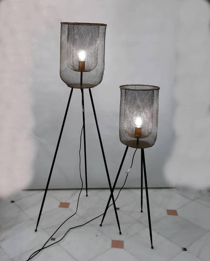 Ground Lamp Iron Black Gold Height 140 cm