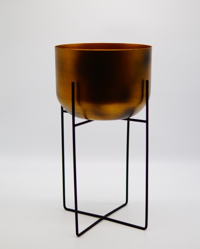 Plant Pot Copper on Metallic Stand
