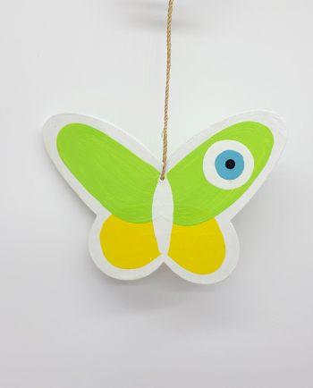 Πεταλούδα Ματάκι Ξύλινη Χειροποίητη χρώμα πράσινο κίτρινο