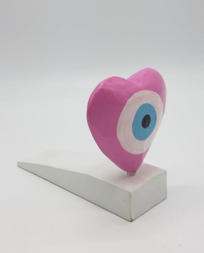 Σφήνα Πόρτας Χειροποίητη Ξύλινη Καρδιά Ματάκι χρώμα ροζ