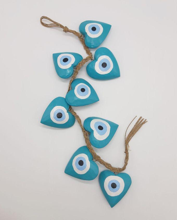 Garland 8 Wooden Hearts Evil Eye diameter 8cm Handmade Length 50 cm color teal