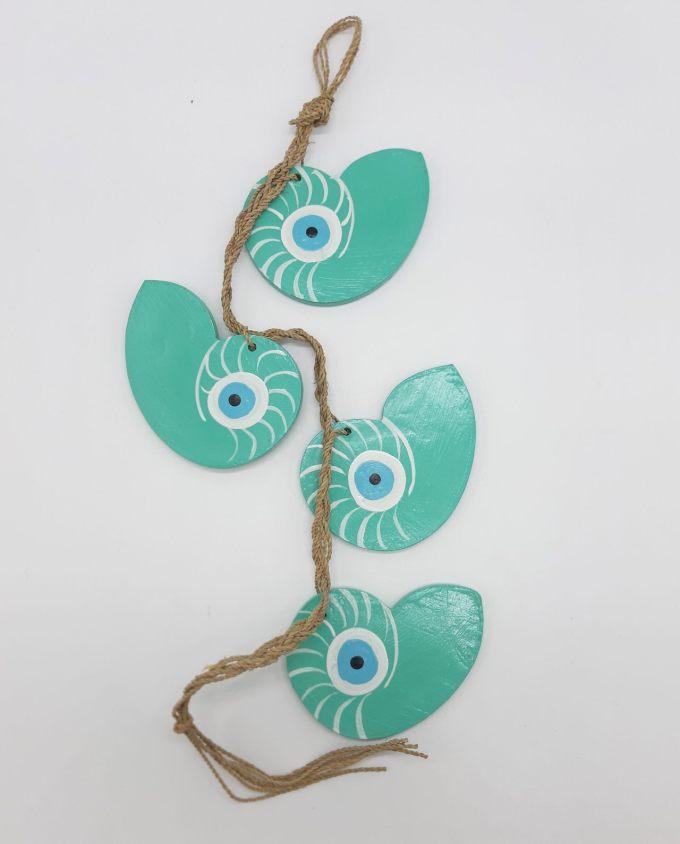 Garland 4 seashells Nautilus evil eye wooden handmade color turquoise