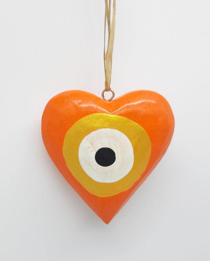 Καρδιά Ματάκι Ξύλινη Χειροποίητη Διαμέτρου 10 cm χρώμα πορτοκαλι χρυσό