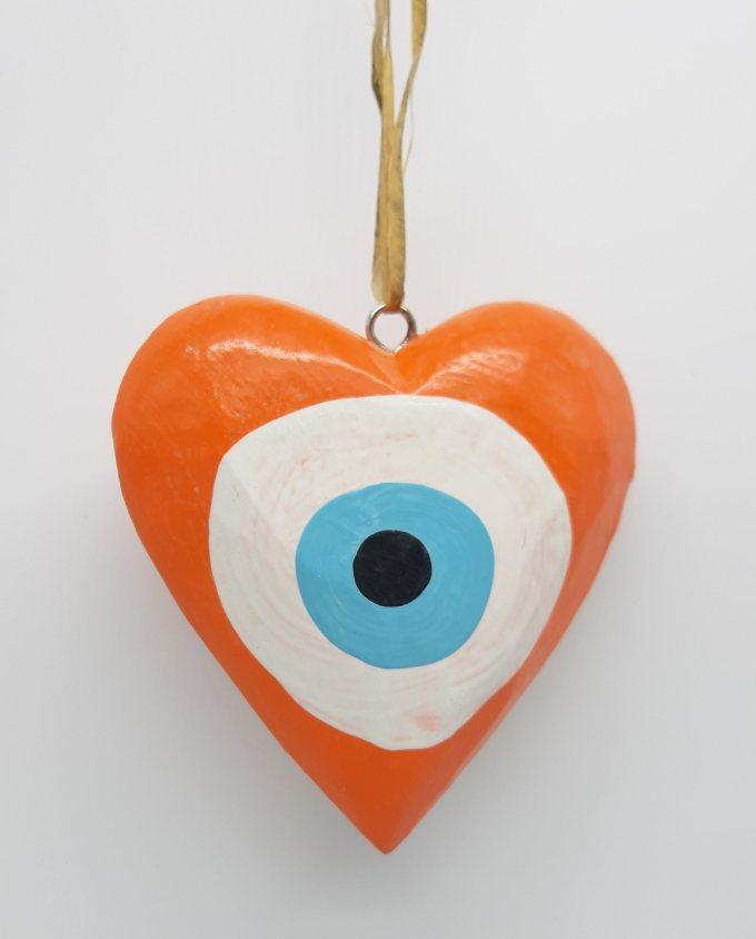 Καρδιά Ματάκι Ξύλινη Χειροποίητη Διαμέτρου 10 cm χρώμα πορτοκαλι