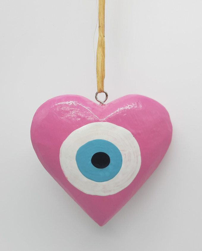 Καρδιά Ματάκι Ξύλινη Χειροποίητη Διαμέτρου 10 cm χρώμα ροζ