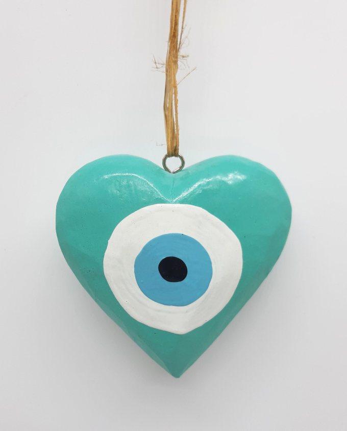 Καρδιά Ματάκι Ξύλινη Χειροποίητη Διαμέτρου 10 cm χρώμα τυρκουαζ